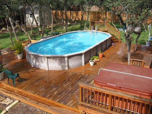 Above ground pool with low level decking san antonio tx for Above ground pool decks for small yards