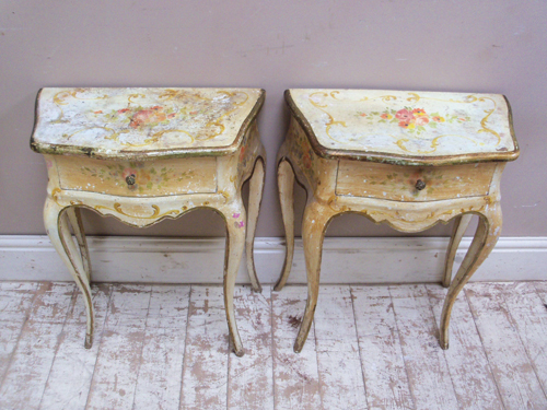 vintage french bedside tables | pair of vintage french