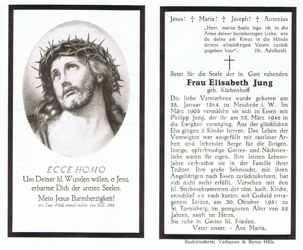 Totenzettel Jung, Elisabeth geb. Küchenhoff † 20.10.1951