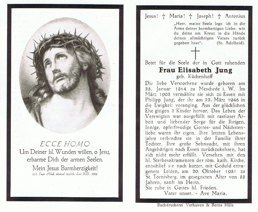 Totenzettel Jung, Elisabeth † 20.10.1951