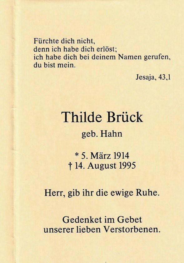 Totenzettel Brück, Mathilde geb. Hahn † 14.08.1995