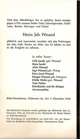 Totenzettel Winand, Johann † 07.12.1968