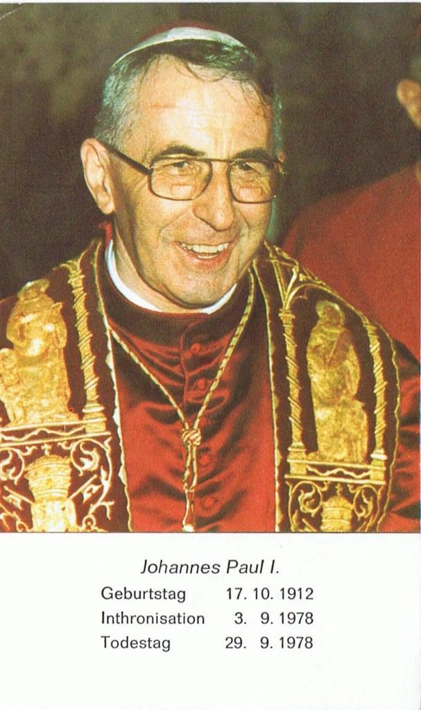 Totenzettel Papst Johannes Paul I † 29.09.1978