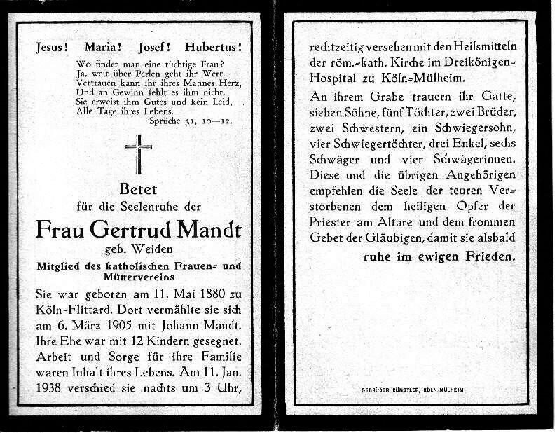 Totenzettel Weiden, Gertrud † 11.01.1938