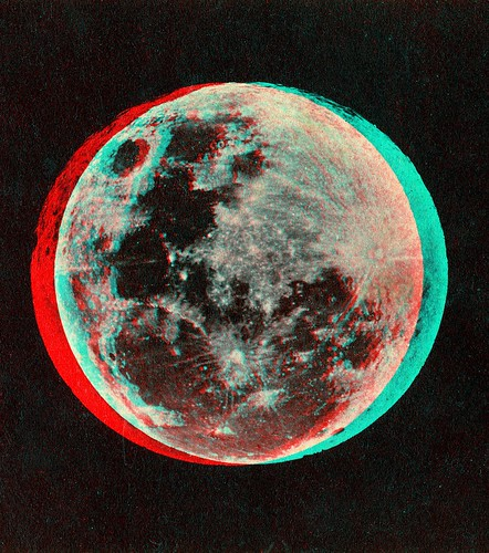The Moon published by Joseph L. Bates 1860's anaglyph 3D | by depthandtime