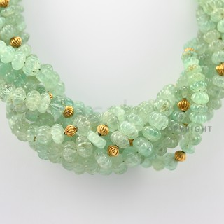 6.50 to 11.00 mm - 7 Lines - Emerald Carved Beads Necklace - 17.50 inches (CSNKL1076) | by Beacab.com
