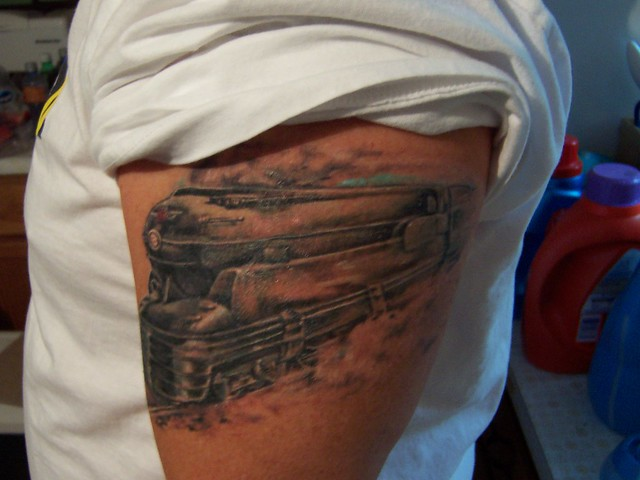 Train s1 prr tattoo flickr photo sharing for Crazy train tattoos