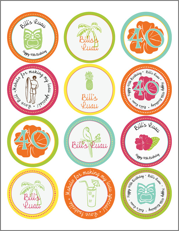 Luau Birthday Party Cupcake Toppers