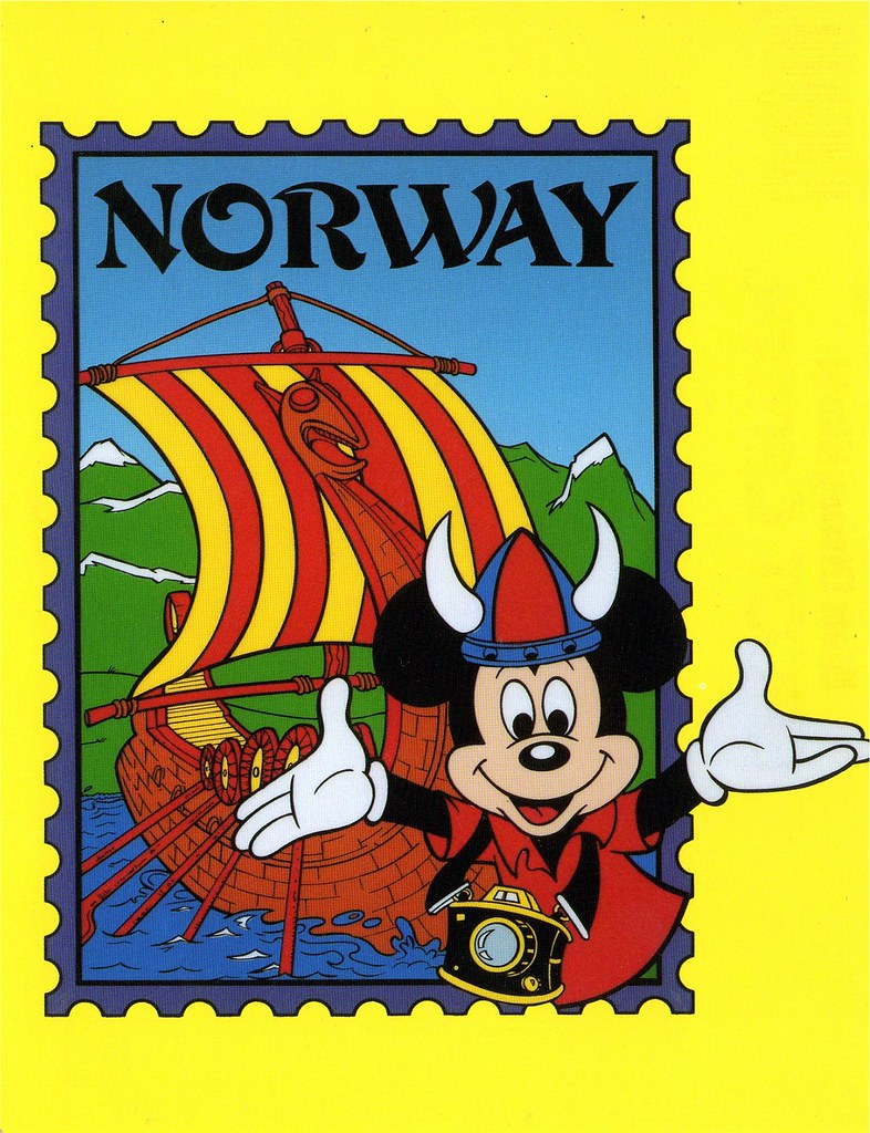Mickey In Norway Postcard Mickey Mouse In The Norway Secti Flickr - Norway map cartoon