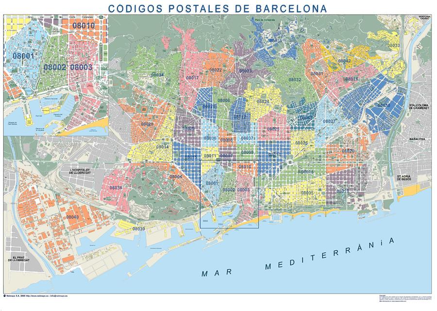 Mapa codigos postales barcelona for Codigos postales madrid capital