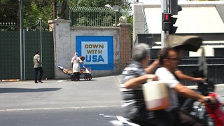 """Down with USA"" sign 