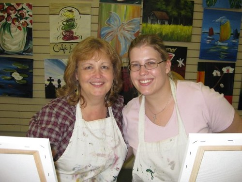 Mom and I at a painting class | by niftyfoodie