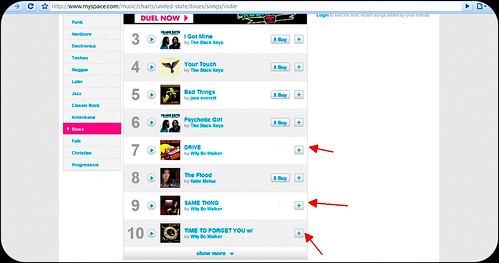 Wily Bo Walker is at #7, #9 and #10 on the US Myspace indie blues chart! | by NewYorkBrass