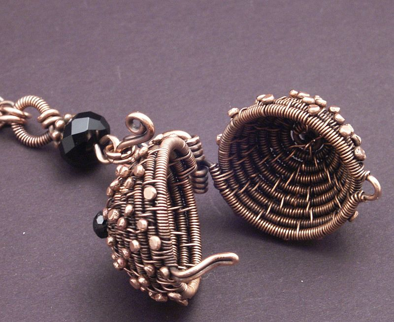 Basket Weaving Jewelry : Woven copper ball this one puts big goofy smile on my