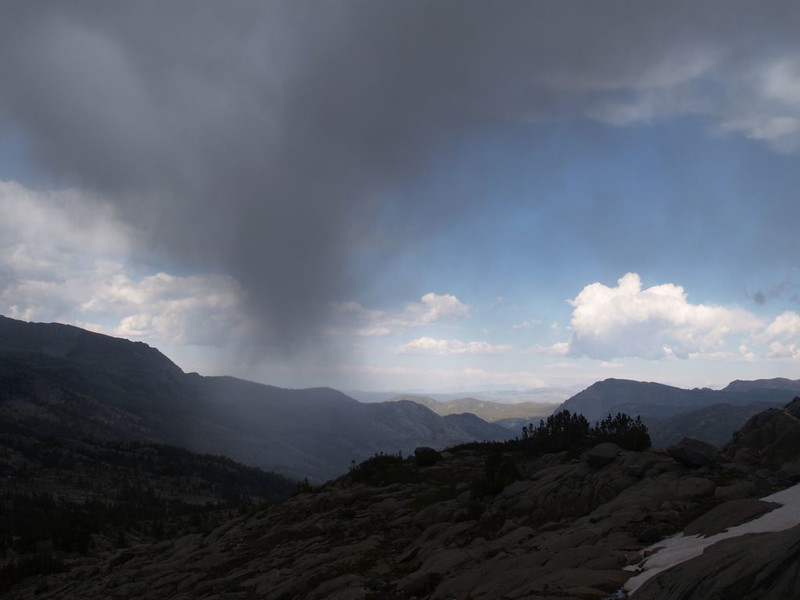 Virga descending from a thunderstorm as we hike down the ridge