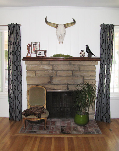 fireplace sitting area+cow skull+eames house bird | by ...love Maegan