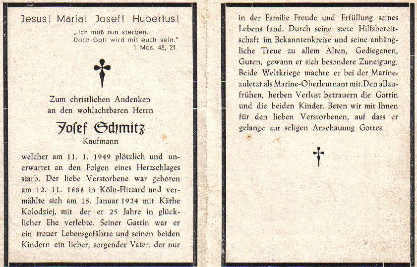 Totenzettel Schmitz, Josef † 11.01.1949