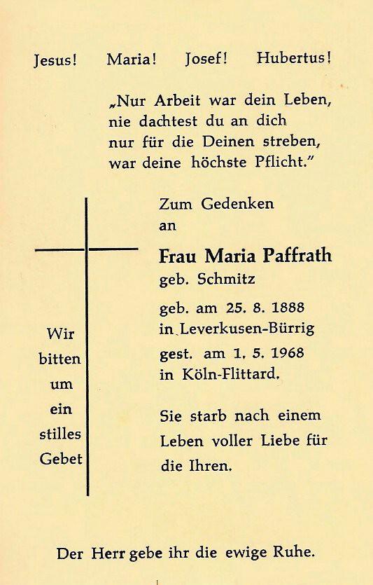 Totenzettel Paffrath, Maria geb. Schmitz geb. 1888 † 01.05.1968