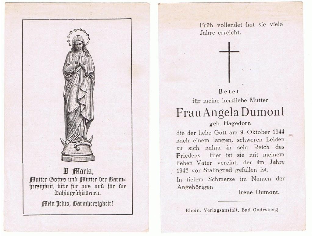 Totenzettel Dumont, Angela † 09.10.1944