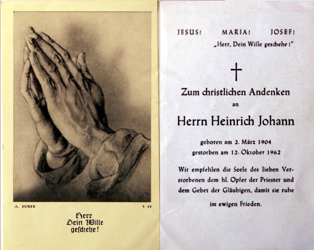 Totenzettel Johann, Heinrich † 12.10.1962