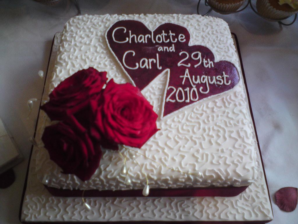 Square Single Tier Wedding Cake
