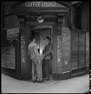 Dick Gooding (on right of door) from Lincoln Coffee Lounge & Cafe, Rowe Street, Sydney / photographed by Brian Bird c. 1948-1951 | by State Library of New South Wales collection