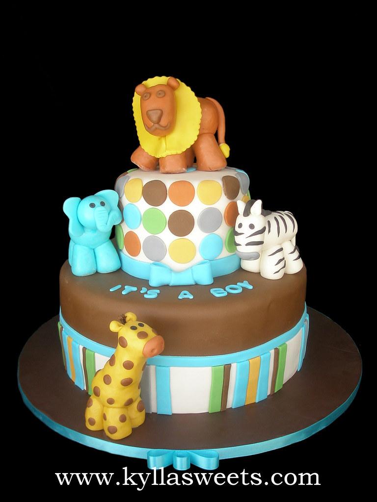 Baby Shower Safari Cake Bolo Ch De Beb Safari Flickr
