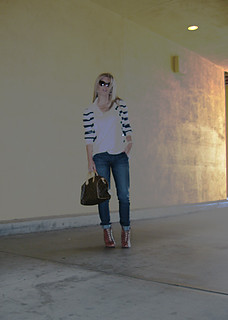 jeans+lace up boots+t shirt+striped cardigan+louis vuitton bag-1 | by ...love Maegan