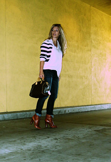 jeans+lace up boots+t shirt+striped cardigan+louis vuitton bag-6 | by ...love Maegan