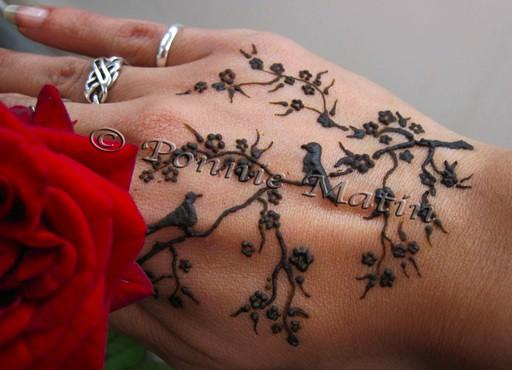 birds blossoms henna design by ponnie matin ponnie matin flickr. Black Bedroom Furniture Sets. Home Design Ideas