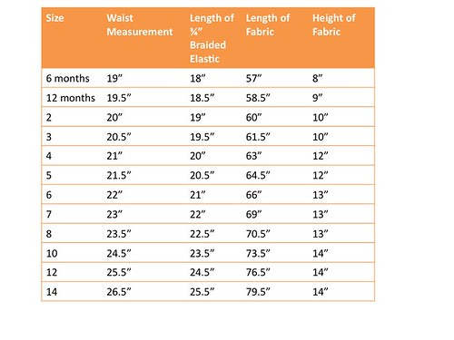 The Dress Up Skirt Sizing Chart | Tutorial here ...