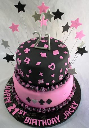 Poker Pink Amp Black 2 Tiered 21st Birthday Cake Jeanne