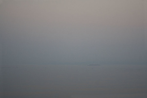 cruise ship in the smoke | by fog and swell
