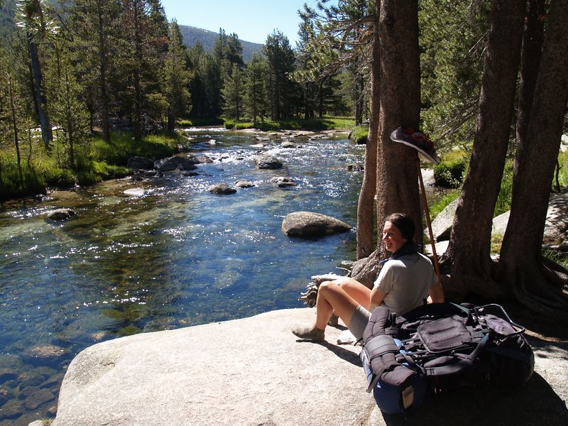 Taking a boot-off break and filtering some water from the Lyell Fork of the Tuolumne River