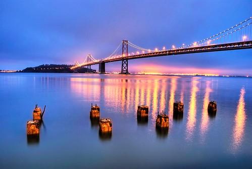 A foggy blue hour at the Bay Bridge