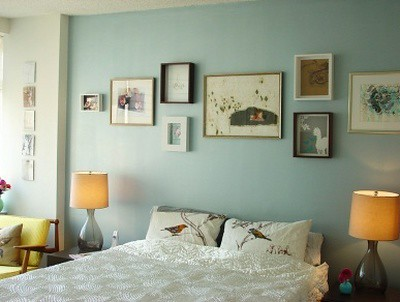 Grey blue bedroom from domino via sfgirlbybay Grey sponge painted walls