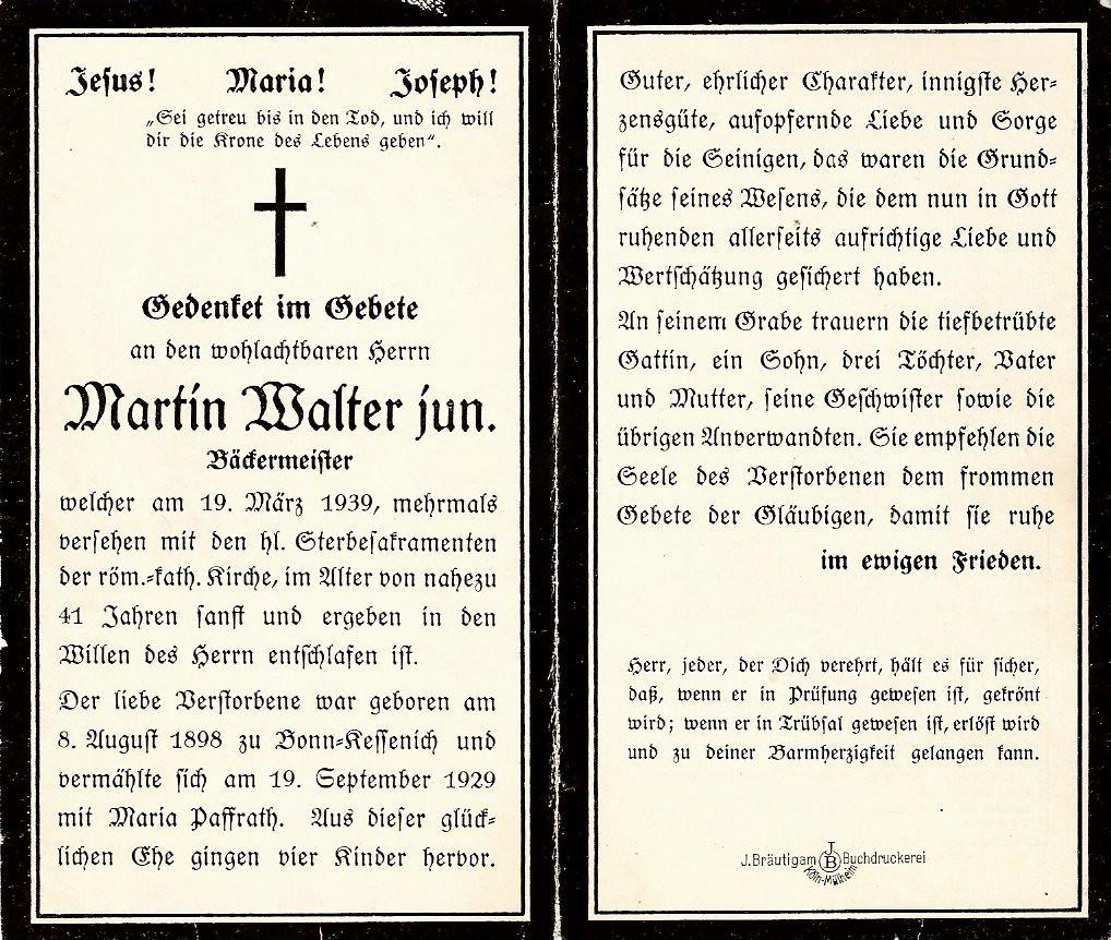 Totenzettel Walter, Martin jun † 19.03.1939