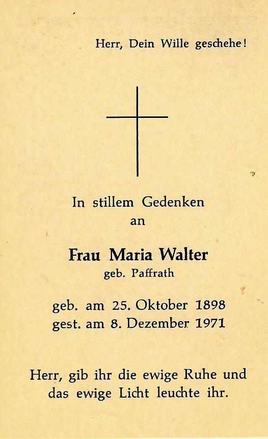 Totenzettel Walter, Maria † 08.12.1971