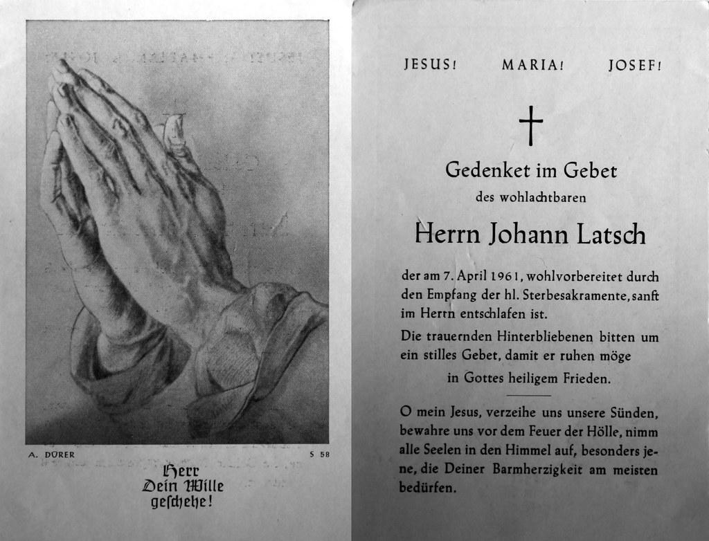 Totenzettel Latsch, Johann † 07.04.1961
