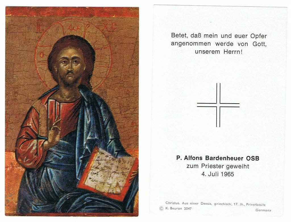Priesterweihe Bardenheuer, Alfons Pater OSB am 04.07.1965