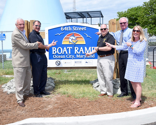 Maryland Natural Resources Secretary Mark Belton joins Governor Larry Hogan and others at the Ocean City Boat Ramp grand opening