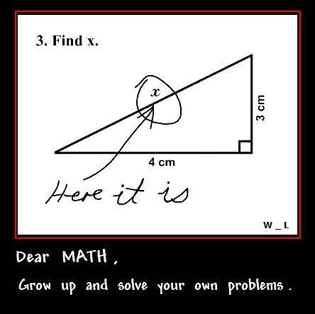 Math solve your own problems. | Lol Dear Math Grow up and ...