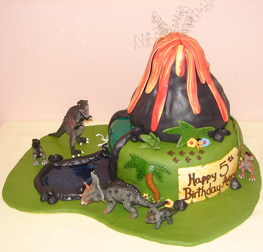 Dinosaur Birthday Cake With Volcano And River Dinosaur