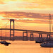 Panorama view of Newport,  Rhode Island at Sunset. Made with several images merged toghether