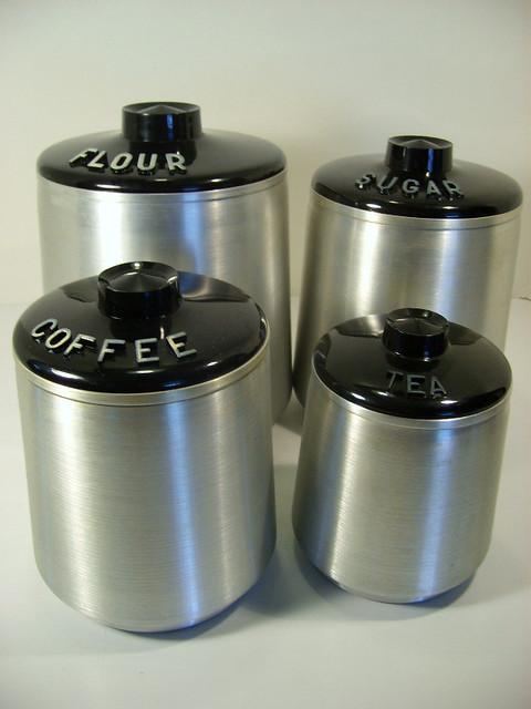 Retro Vintage Spun Aluminum Kitchen Canister Set Explore J Flickr Phot