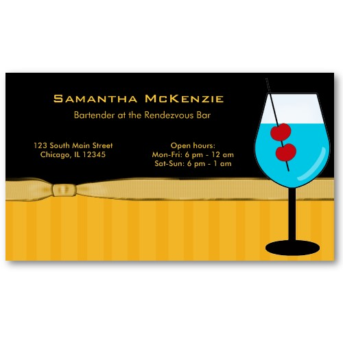 bartenderowner bar business card by juliana rw - Bartender Business Cards