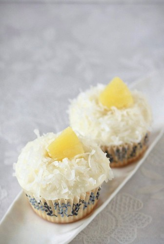 Coconut Cupcakes with Pineapple Curd | by Xiaolu // 6 Bittersweets