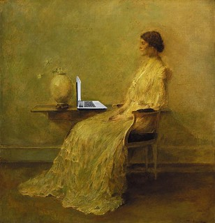 Lady in White Blogging, After Thomas Wilmer Dewing | by Mike Licht, NotionsCapital.com