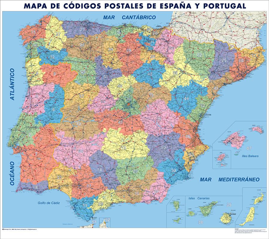 espana mapa c digos postales mapa de pared tama o mural
