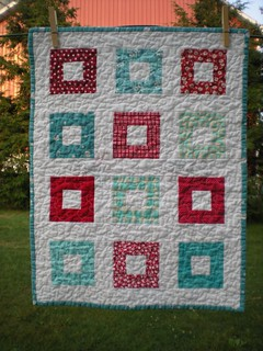 Red and Aqua Square Little Quilt | by Erin @ Why Not Sew? Quilts
